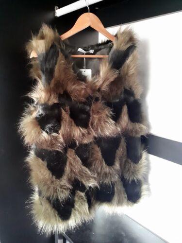 UK Women Ladies Green Winter Faux Fur Vest Gilet Waistcoat Jacket Outwear