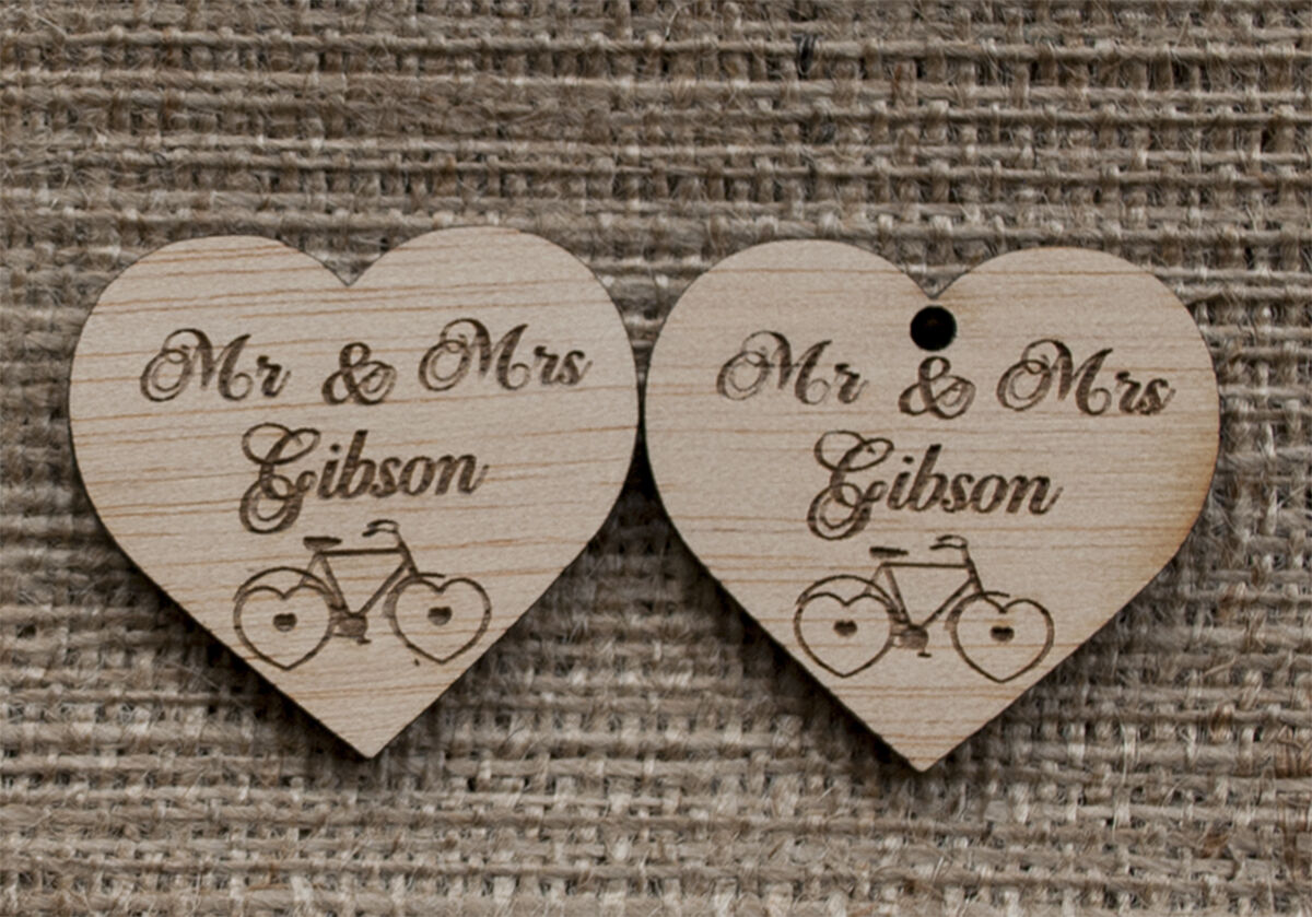 Wooden wedding favours bike, personalised heart favours, rustic wedding, hearts