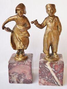 2 Wiener Bronze Skulpturen Fischverkäuferin Holländer Paar Ernst Beck Um 1900