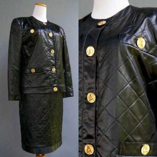 VTG Adolfo Suit 2p Set Wet Look Quilted Satin Gold