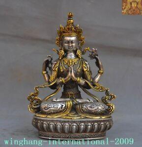 Tibet-Buddhism-silver-Gilt-4-Arms-Chenrezig-tara-Kwan-Yin-GuanYin-Buddha-statue