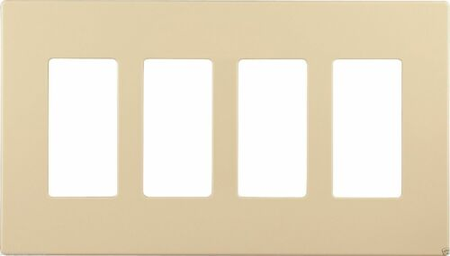 Cooper Wiring Devices PJS264V Decorator Screwless Wallplate 4-gang Ivory