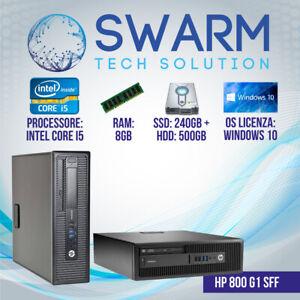 Pc Computer Desktop Fisso HP 800 G1 intel core i5-4570 8GB RAM 240GB SSD + 500GB