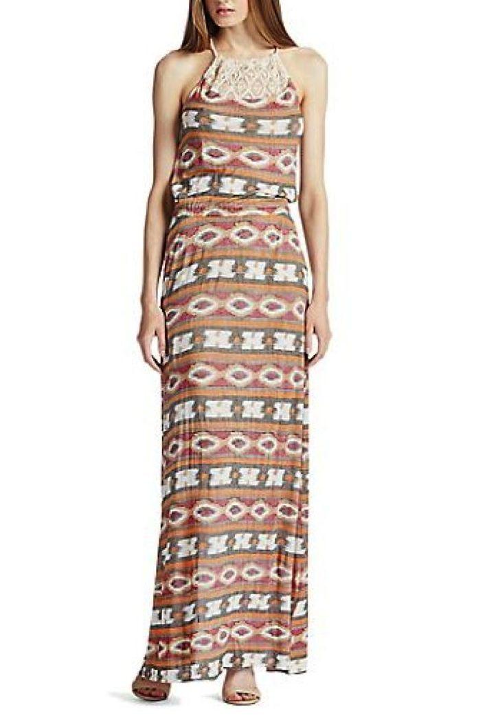 Lucky Brand - L - NWT  - Ikat Haze Print Crochet Halter Neck Maxi Dress