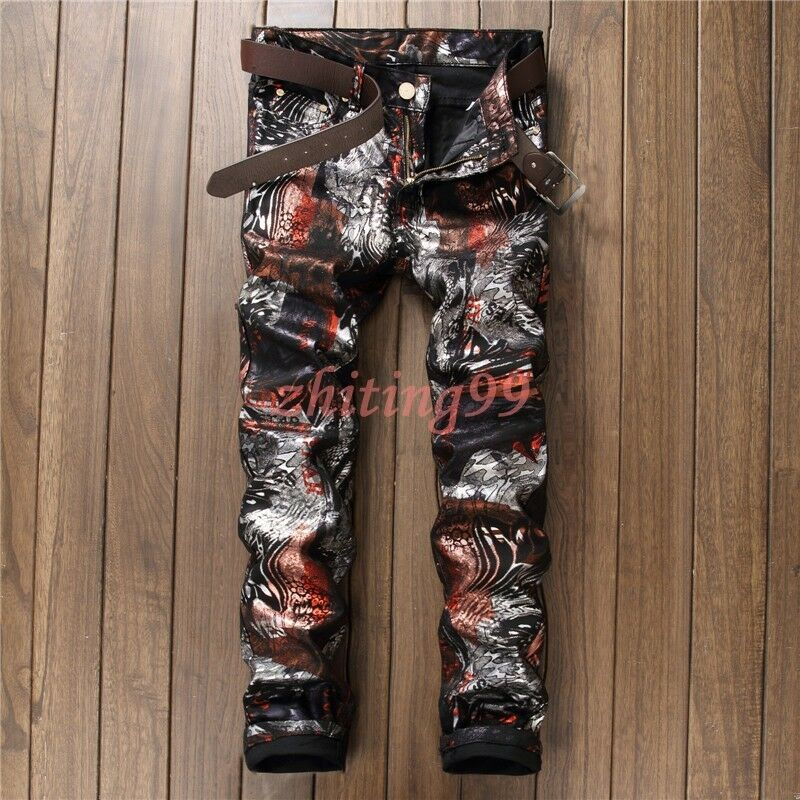 New 2017 Spring Mens Floral Slim Fit Floral Fashion Casual Pants Trousers 29-38