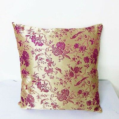 cushion cover Chinese brocade pillow case old gold basic w wine birds cbs-601