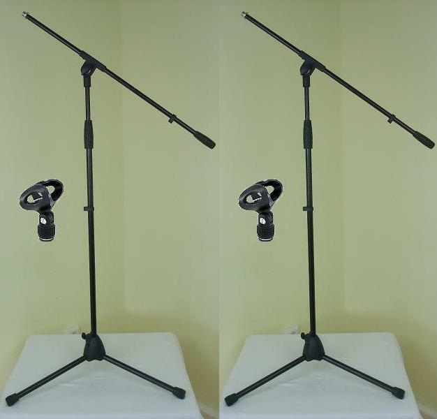 2 x Adam Hall Microphone Stand ECO incl. Microphone Clamp And Noose Microphone Tripod