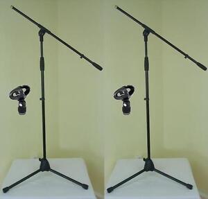 2-x-ADAM-HALL-Mikrofonstaender-ECO-incl-Mikrofonklemme-und-Galgen-Mikrofonstativ