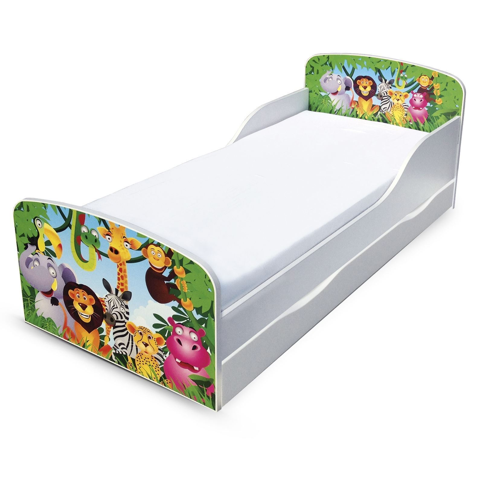 Jungle MDF Tout-petit lit avec de rangement dessous de lit Neuf Lion éléphant