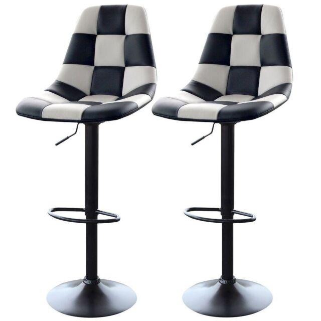 Swivel Cushioned Bar Stools Adjustable Height White/Black Kitchen Stool Set  of 2