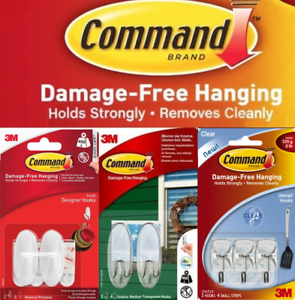 3M Command Hooks Hanger Damage Free Wall Adhesive Reusable Multipurpose Frames