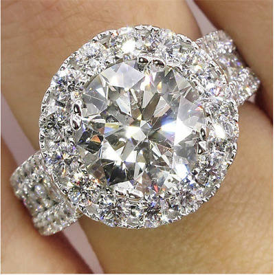 Fashion Women Round White Sapphire CZ Ring 925 Silver Wedding Engagement Jewelry