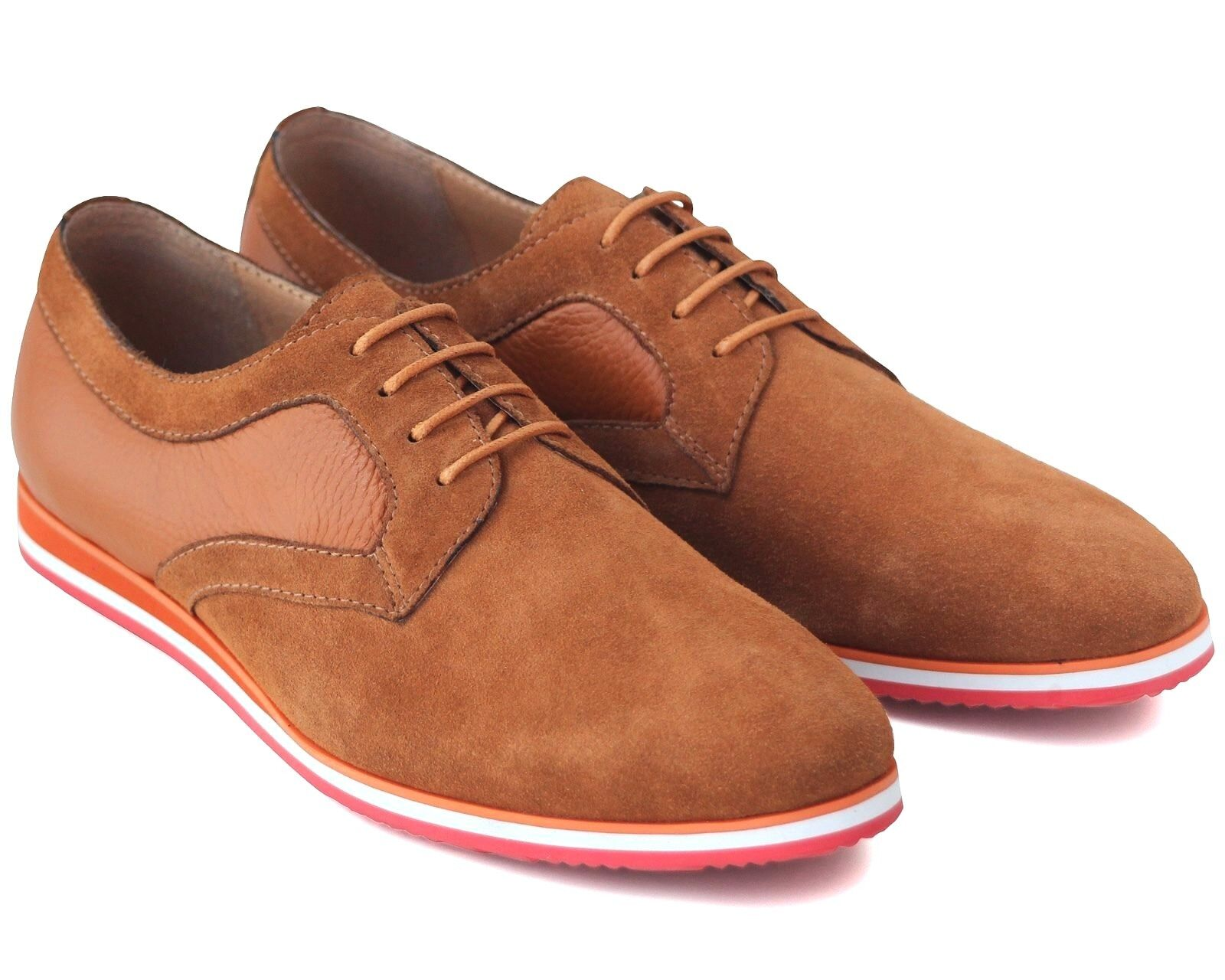 590 NEW MENS TAN BROWN SUEDE CASUAL SHOES LACE UP WEEKEND WORK COMFY