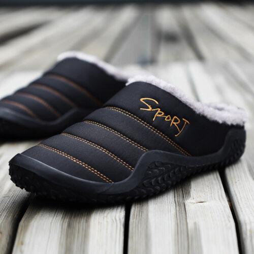 Winter Mens Warm Fur Slippers Indoor Outdoor Slip on Cozy Bedroom House Shoes UK