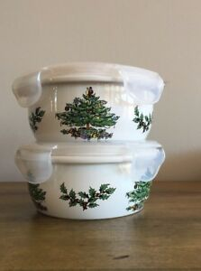 Details About 2 Spode Xmas Tree 5 Ceramic Round Storage Bowls With Plastic Lock Lid Nwt