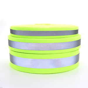 Black High Visibility Double Reflective Strip Polypropylene Webbing Strap Tape