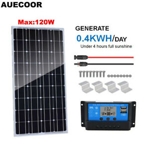 AUECOOR-100W-Monocrystalline-Solar-Panel-Kit-with-20A-Controller-Off-Grid-Home