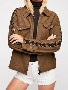 5184ad5da5 Free People Black Lace-up Sleeve Faye Military Jacket Size Small NWT ...