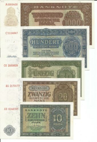 RARE UNC 7RW 09ABR GERMANY DDR COMPLETE SET 9 NOTES 1000-0.50 MARKS 1948