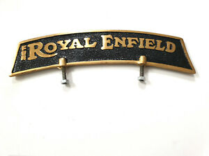 Royal-Enfield-Vorne-Kotfluegel-Nummernschild-in-Messing-Schwarz-N-1149