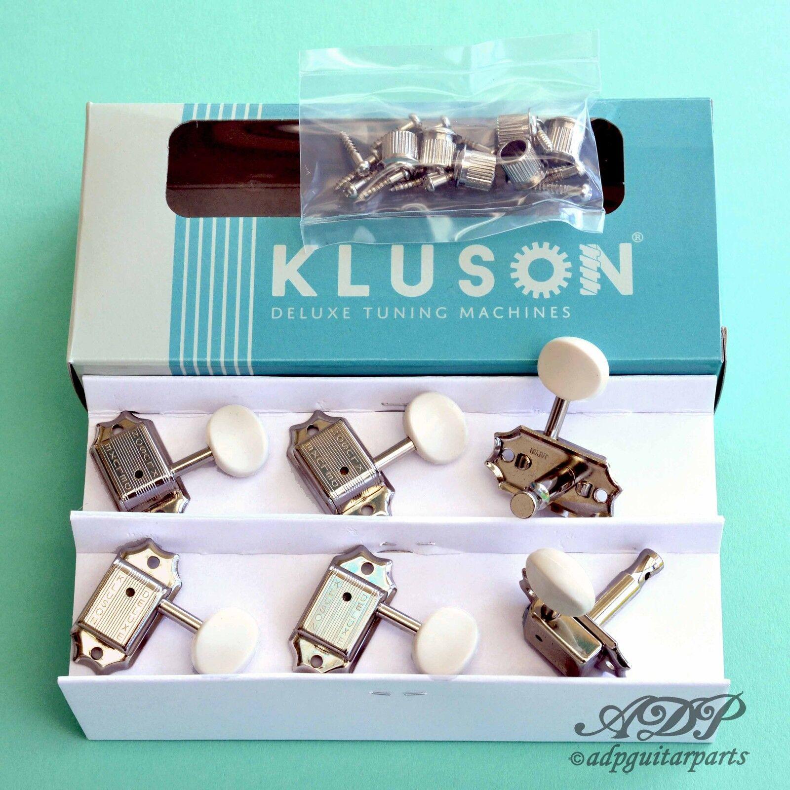 100% di contro garanzia genuina Meccaniche Vintage Kluson Deluxe3x3 biancaButton Gibson Junior Nichel Tuner Tuner Tuner M33JP  consegna e reso gratuiti