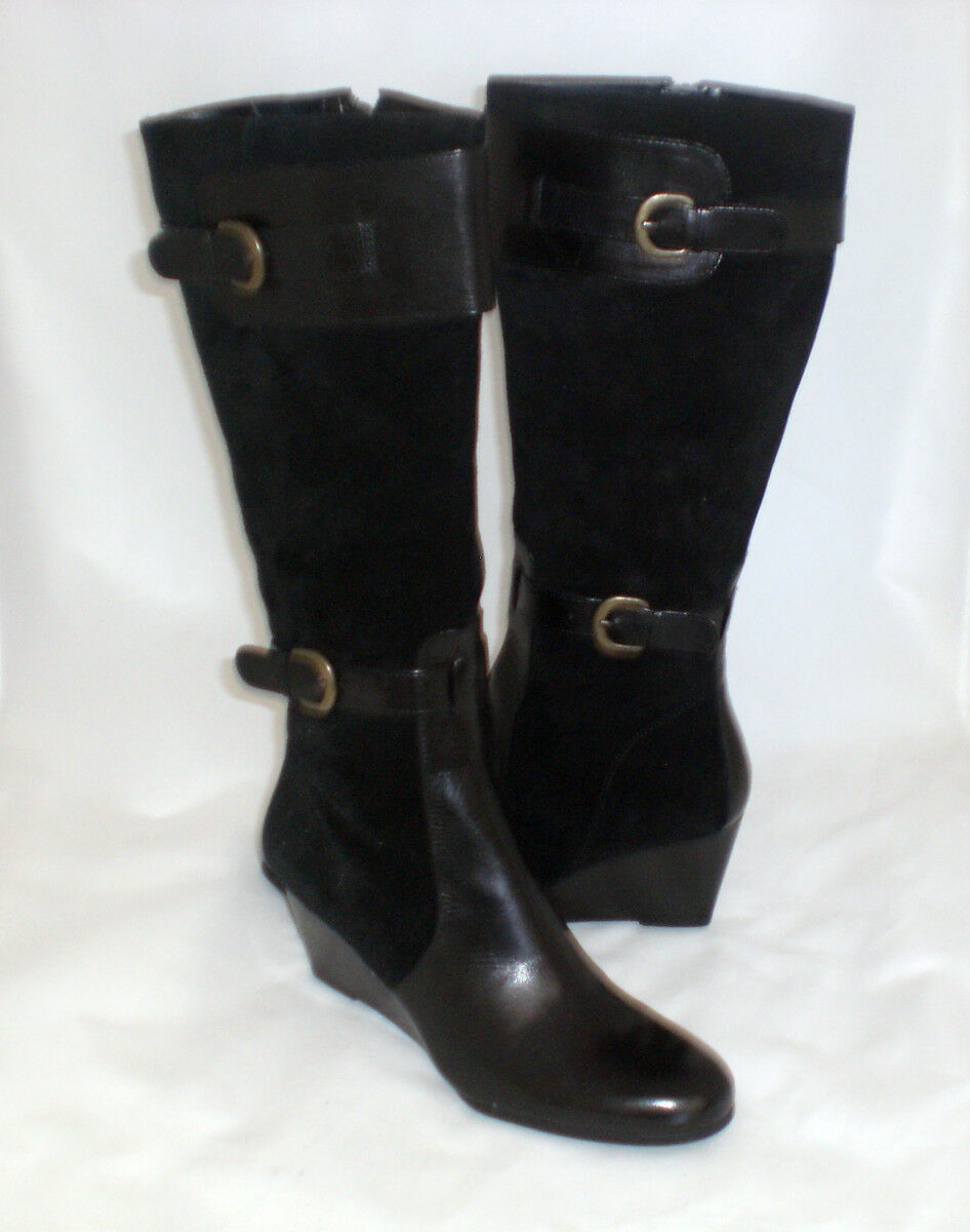 Easy Spirit Alexi knee high wedge boot black suede leather 8.5 NARROW New