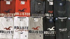 Hollister-Men-039-s-logo-Applique-T-shirt-Graphique-A-Manches-Courtes-T-shirt-livraison-gratuite