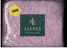 Ralph Lauren Monotone Paisley Purple Twin Fitted Sheet New