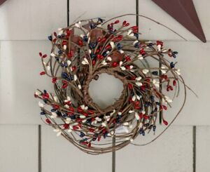 Pip Berry Mini Wreath / Candle Ring Navy Ivory Red w/Rusty Stars Patriotic Decor