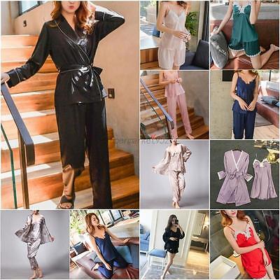 Womens Sexy Silk Satin Lace Robe Shorts Babydoll Sleepwear Nightwear Pajamas Set