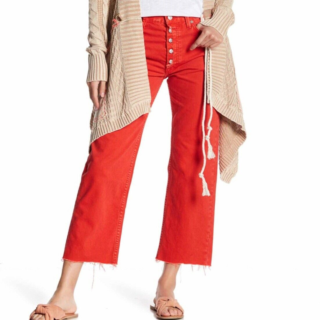Free People Rolling On The River Jeans 26 New Woman Red Wide Leg Ankle
