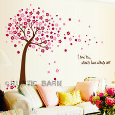 Pink Cherry Blossom Tree & Petals Quote Home Decor Vinyl Wall Sticker Art Decal