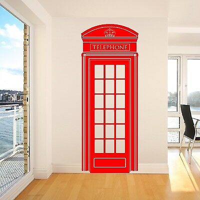 LONDON TELEPHONE BOX UK 57cm x 148cm  VINYL WALL ART STICKER DECAL DECORATION