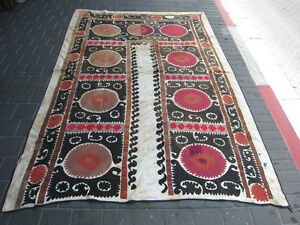 ANTIQUE UZBEK SILK HAND MADE- EMBROIDERED SUZANI 220x148-cm / 86.6x58.2-inches