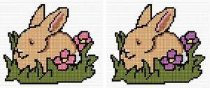 Brown-Bunny-Rabbit-Animal-Cross-Stitch-Starter-Kit-Pink-Purple-Flowers-14ct