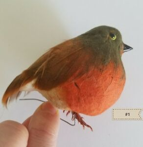 Vintage-Bird-Millinery-Hats-floral-Decor-Orange-Feather-Doll-Display-A3