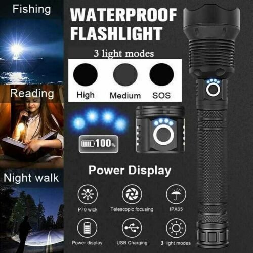 Police 350000Lumens USB Rechargeable XHP70 LED Torch Bright Lamp Flashlight USA