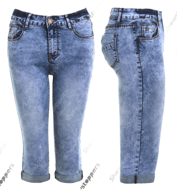 New Womens Denim Stretch Cropped Trouser Ladies Pants Jeans Blue 3//4 Shorts 8-14