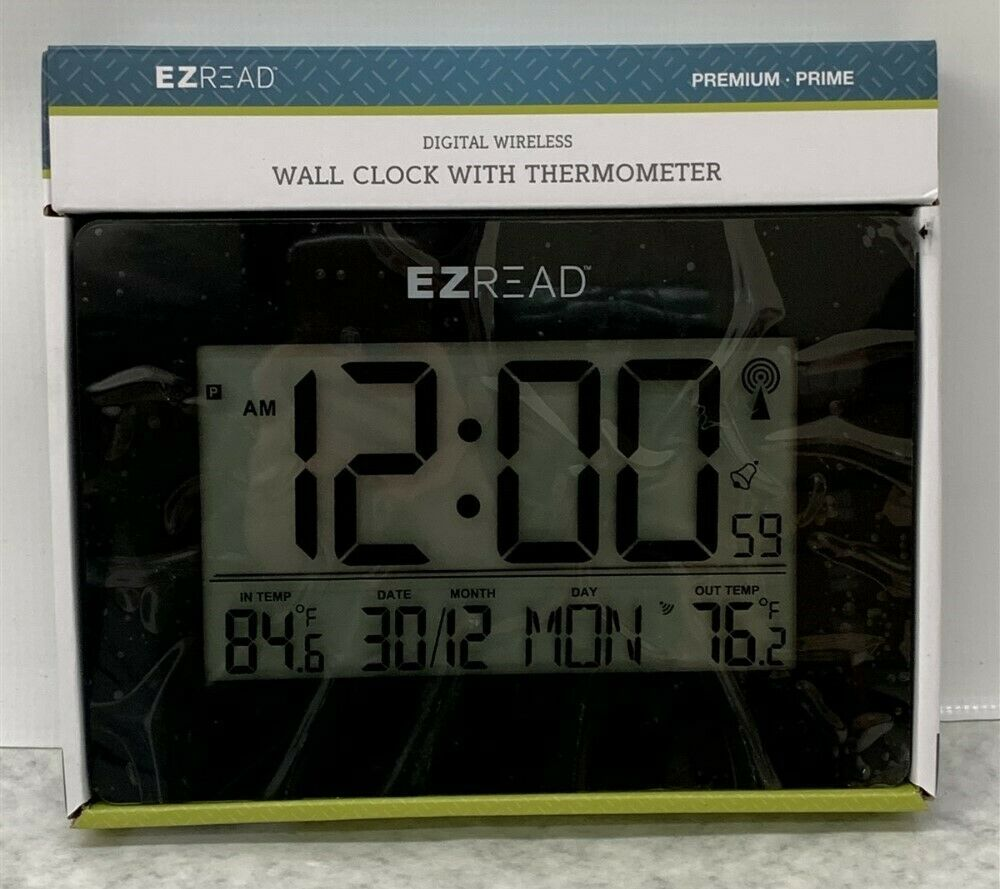Headwind EZREAD Wall Clock With Thermometer Digital Wireless, Black (840-1503)