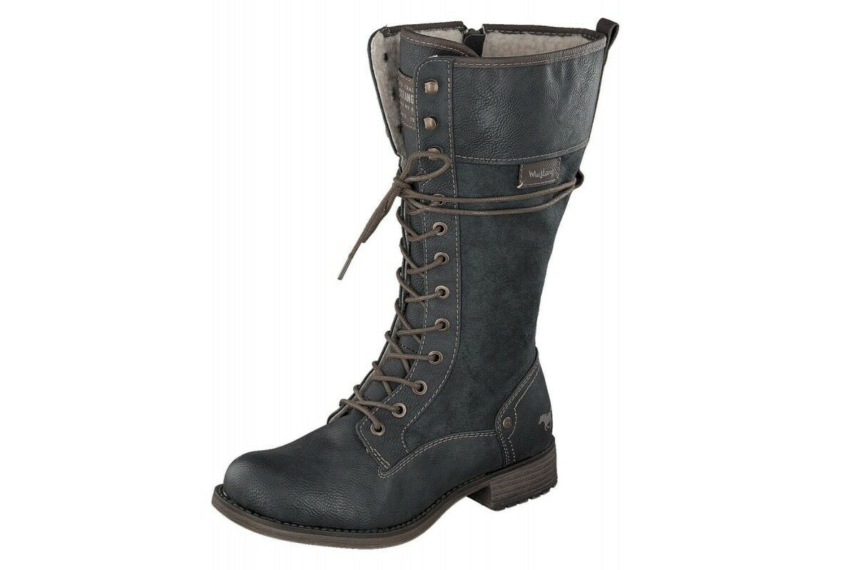 Mustang NEW 1139 633 dark grey lace up low heel military calf boots size 3-8