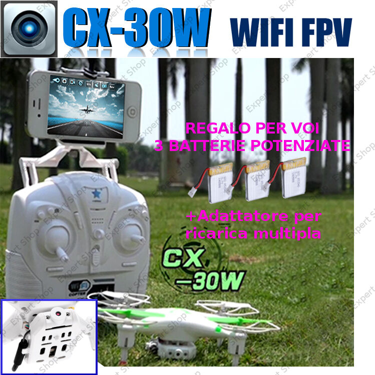 DRONE ORIGINALE CHEERSON CX 30 FPV radiocomando VIDEO TEMPO REALE + regali