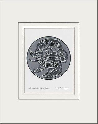 Haida artist BILL REID Embossed SILVER DOGFISH DRUM matted art print