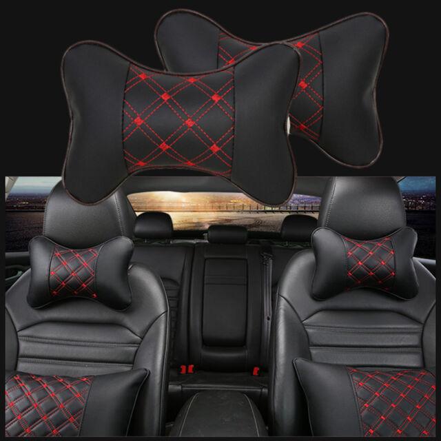 2X Car Rest Cushion Headrest Pillow Leather Bone Shape Mat Pad Neck Holder Kit