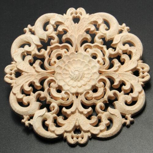 Retro Round Furniture Wood Carving Applique,Door Cabinet Wood Ornament Decor