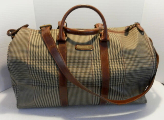 72eef331c7 Polo Ralph Lauren Boston Duffel Travel Bag Houndstooth W shld strap Leather  trim