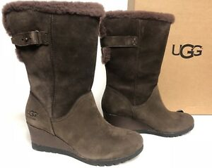 6083f9c9b44 Details about UGG Australia Edelina Boots Grizzly Waterproof Wedge Boots  Women's 1017422