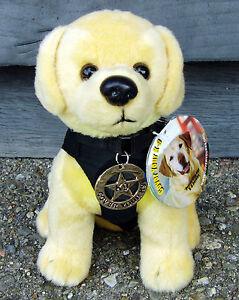 Plush-Labrador-Retriever-Police-or-SAR-Dog-w-Metal-K9-Badge-K-9-Fundraiser