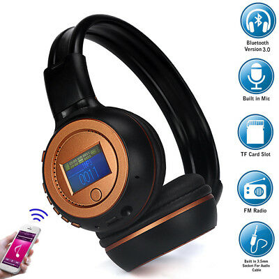 Foldable Wireless Bluetooth Headphones Stereo Headband Headset Built-In Call Mic