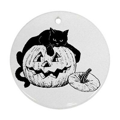 Halloween Black Cat Pumpkin Jack O Lantern Round Porcelain Christmas Ornament
