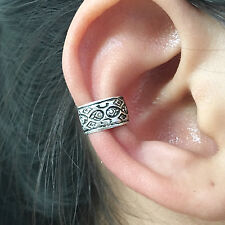 925 Sterling Silver Tribal Pattern Ear cuff Earring No Piercing Clip on Boho NEW